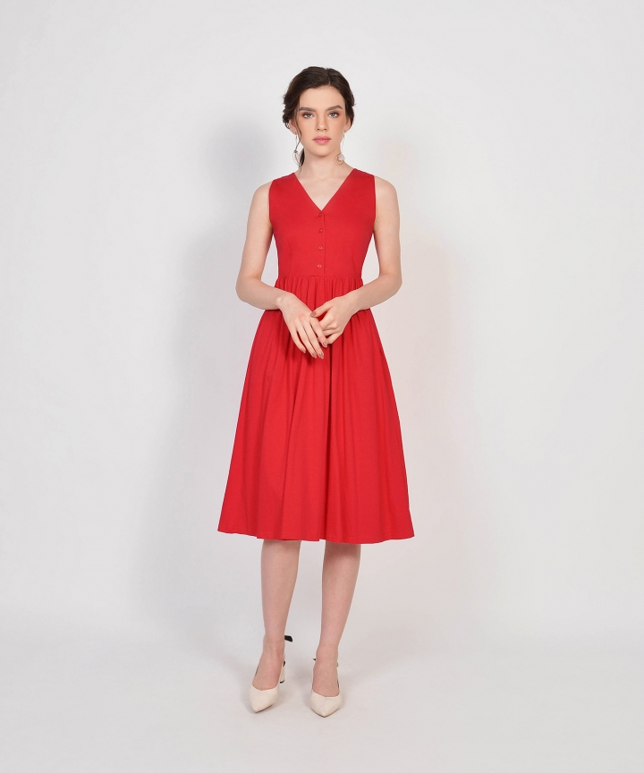 Aida Cotton Button Midi - Scarlet