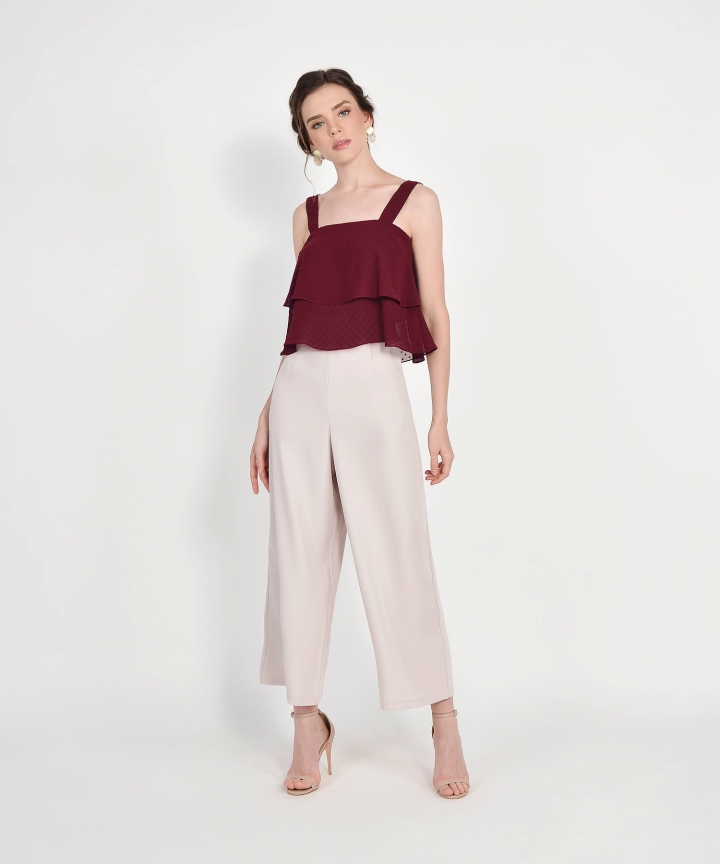 Gwyneth Textured Tiered Top - Maroon