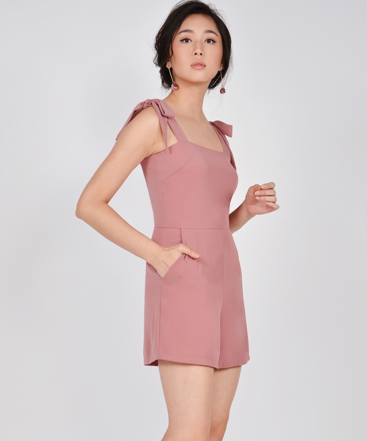 Caraway Bow Playsuit - Rose