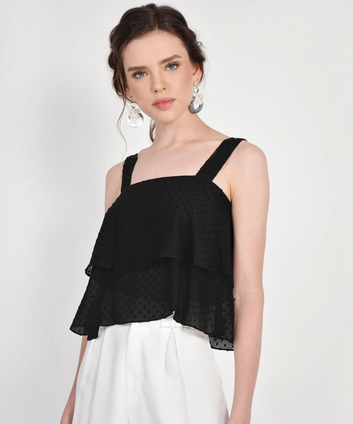 Gwyneth Textured Tiered Top - Black