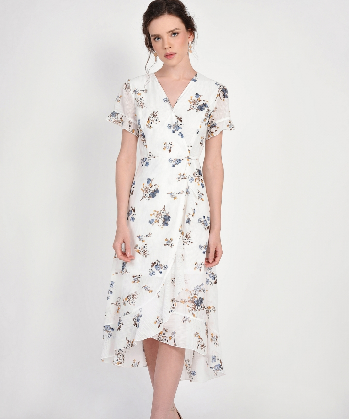 Ariela Floral Overlay Dress - White (Backorder)