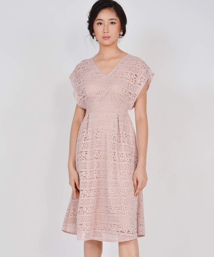 Primrose Lace Kimono Midi - Dust Pink