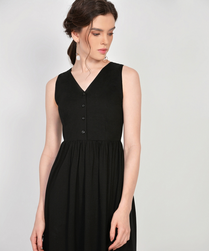 Aida Cotton Button Midi - Black