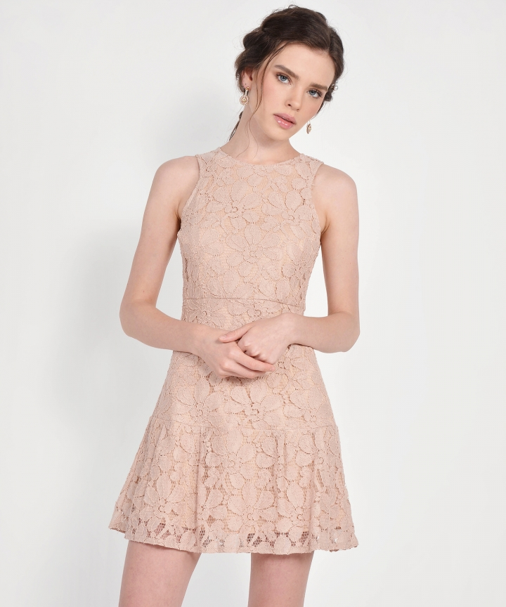 Lilah Lace Dress - Nude Pink