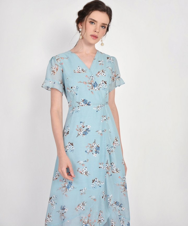 Ariela Floral Overlay Dress - Pale Blue