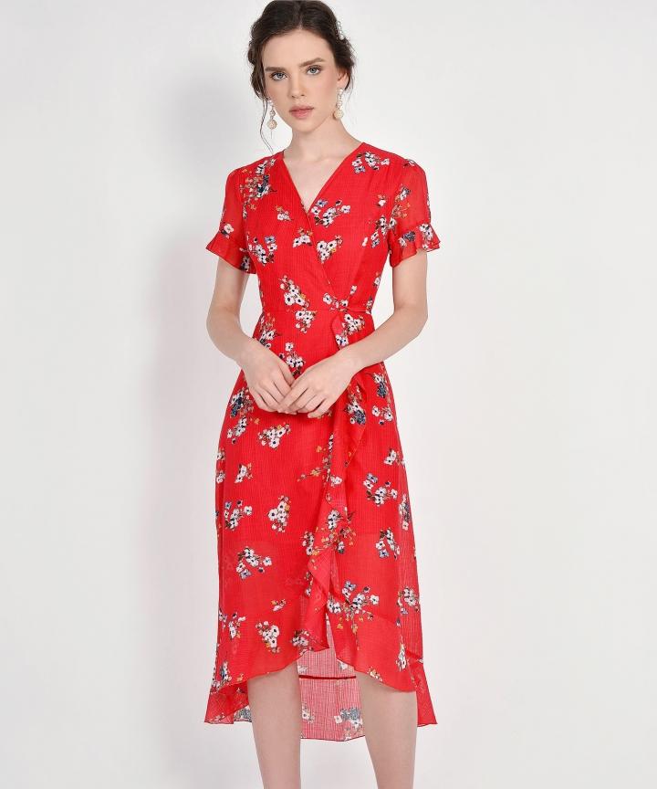 Ariela Floral Overlay Dress - Scarlet