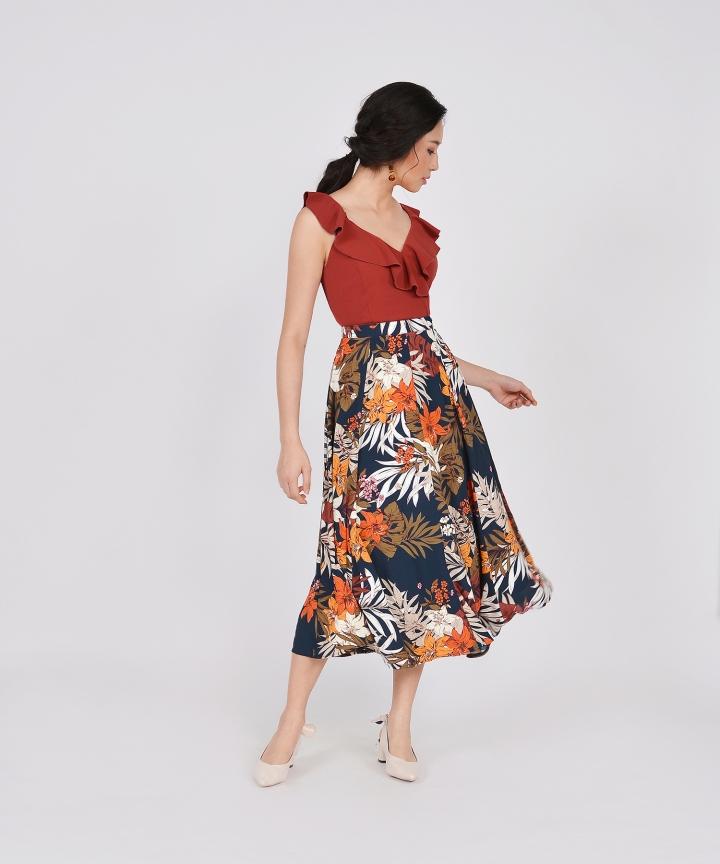 Jacqueline Floral Midi Skirt - Navy