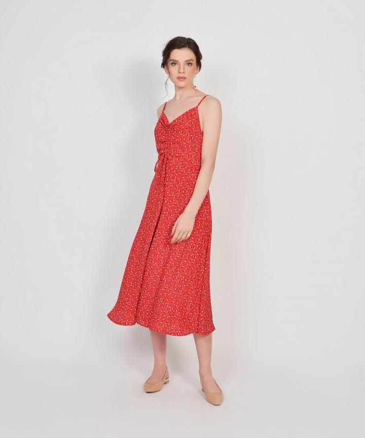 Hazel Floral Ruched Dress - Scarlet