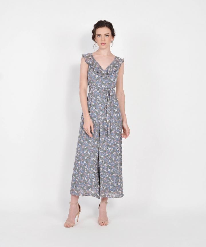 Kerri Floral Ruffle Jumpsuit - Dust Blue