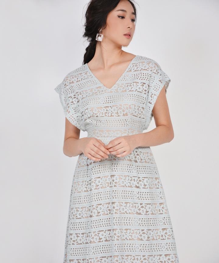 Primrose Lace Kimono Midi - Pale Turquoise
