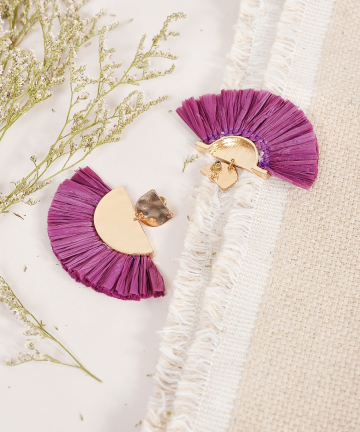 Koji Fan Earrings - Plum