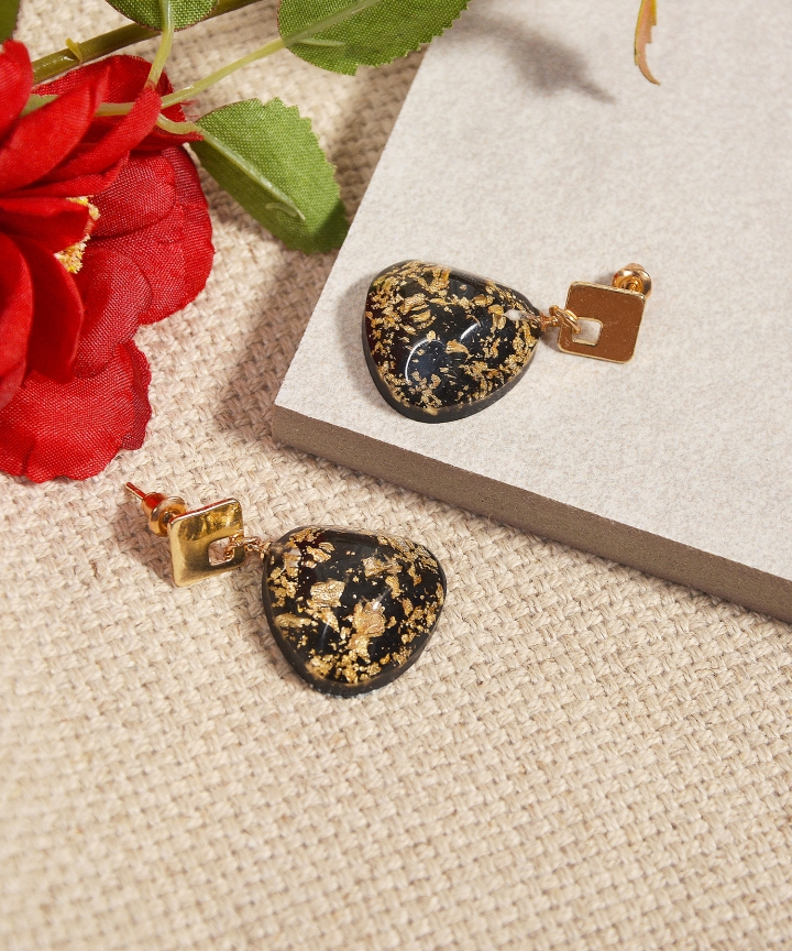 Zelda Speckled Earrings - Black (Backorder)