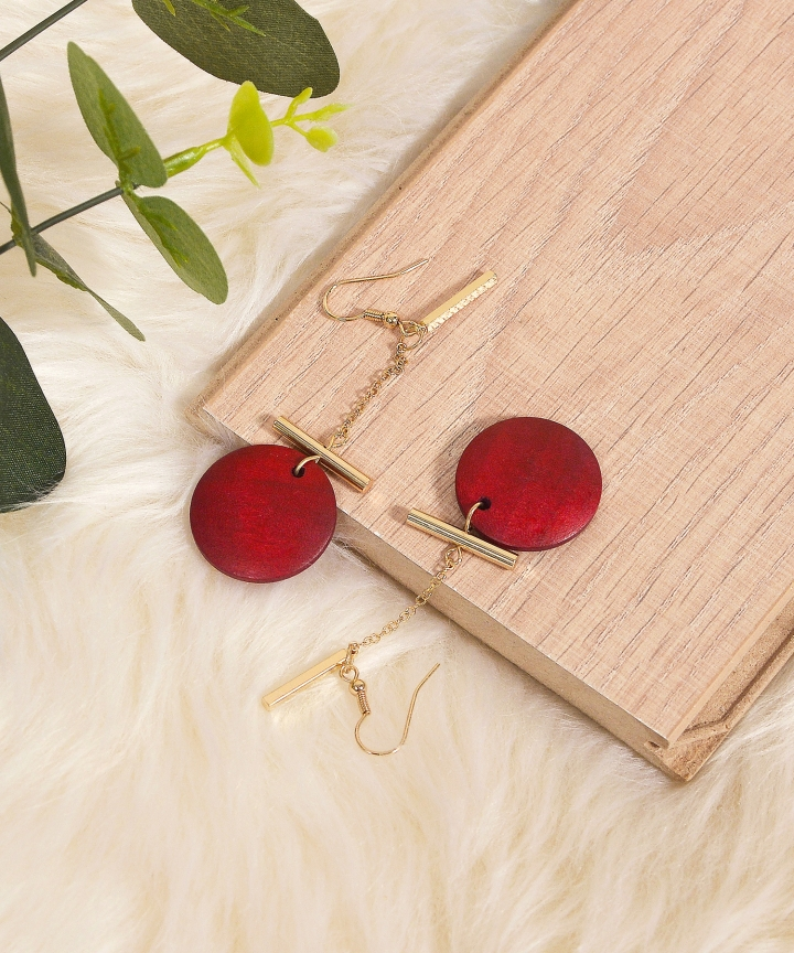 Scarlet Circle Drop Earrings