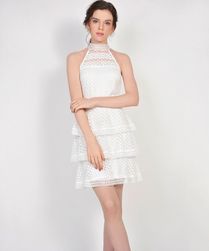 Lisbeth Crochet Tiered Dress - White