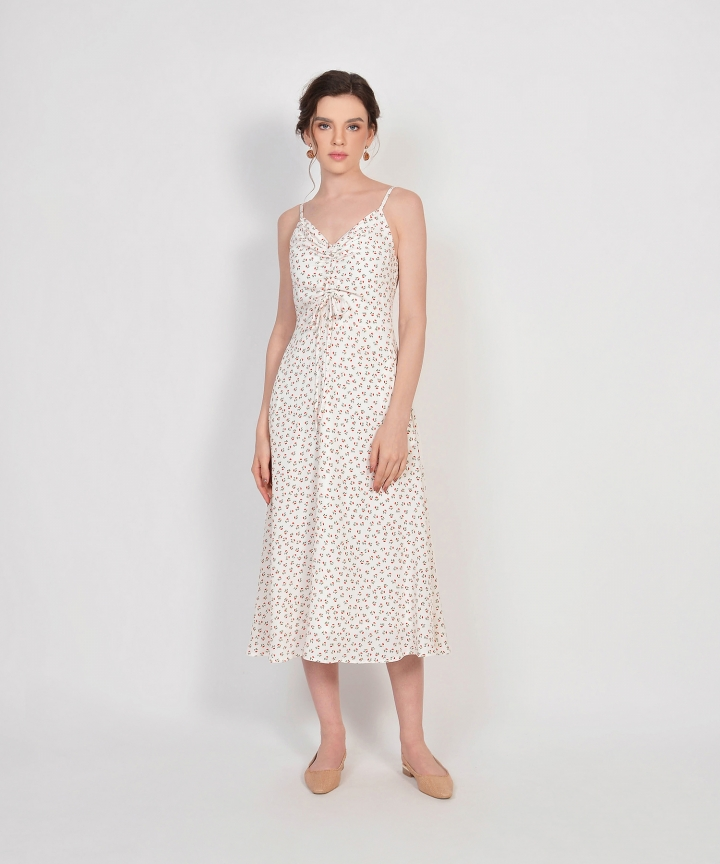 Hazel Floral Ruched Dress - White
