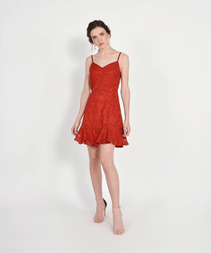 Clair Chiffon Jacquard Dress - Dark Vermillion