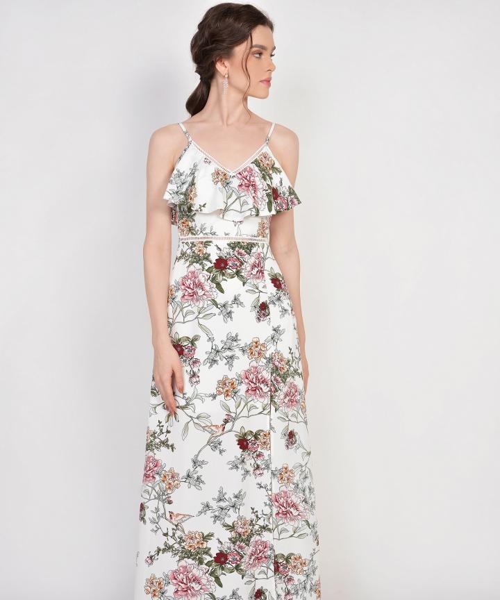 Megumi Floral Ruffle Maxi - White