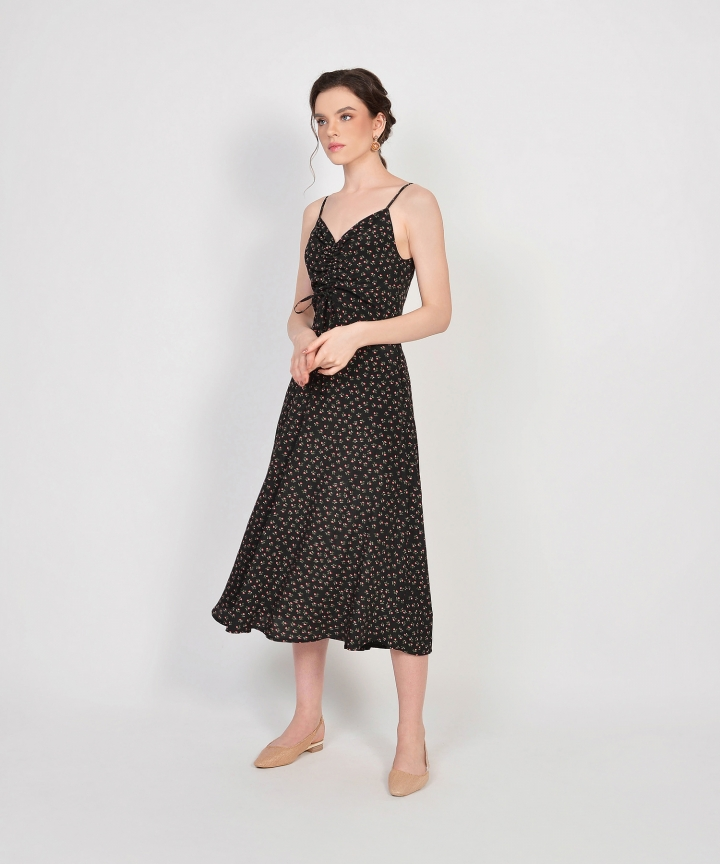 Hazel Floral Ruched Dress - Black