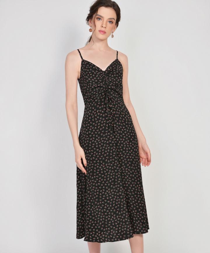 Hazel Floral Ruched Dress - Black