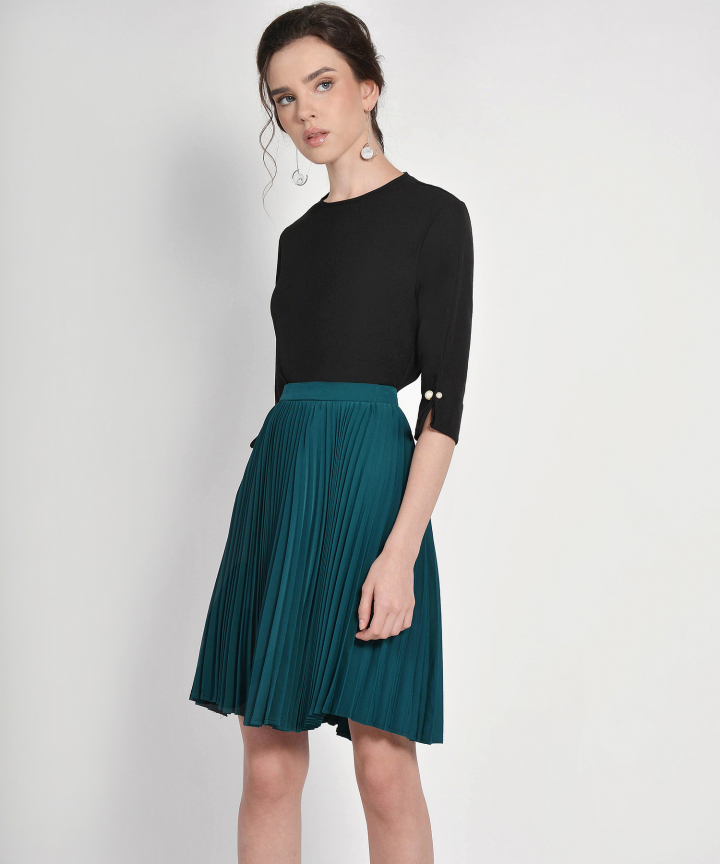 Vanity Fair Pleat Skirt - Teal