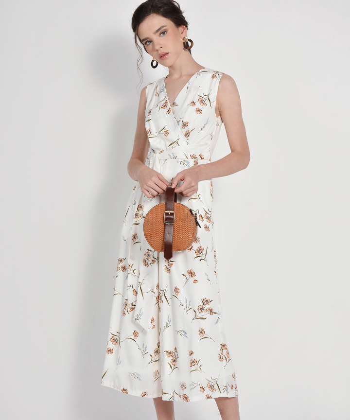 Alena Floral Wrap Jumpsuit - White