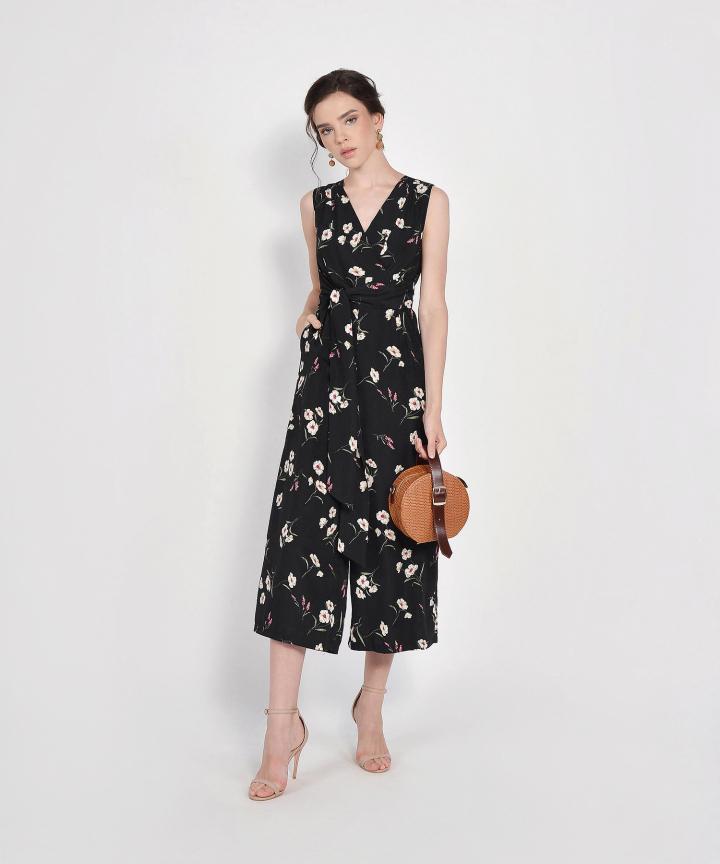 Alena Floral Wrap Jumpsuit - Black