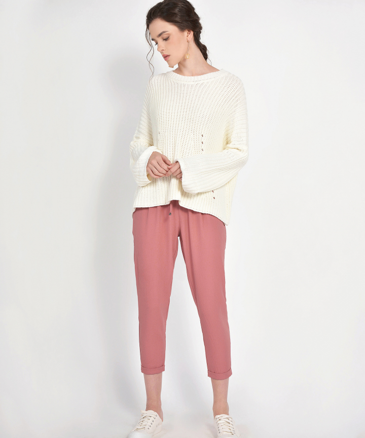 Kendall Distressed Sweater - Ivory