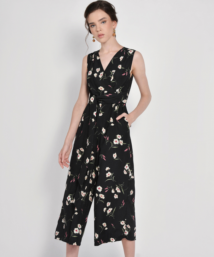 Alena Floral Wrap Jumpsuit - Black