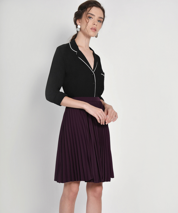 Vanity Fair Pleat Skirt - Deep Plum