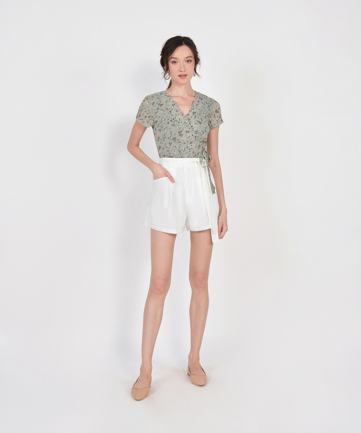 Allie Floral Wrap Top - Sage