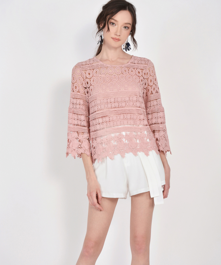 Sheryl Crochet Blouse - Blush Pink