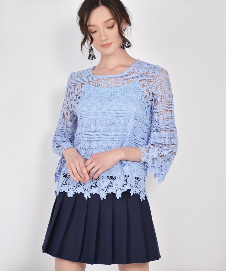 Sheryl Crochet Blouse - Lavender Blue