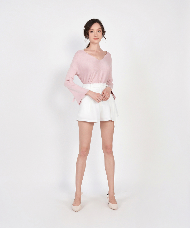 Jolie Long Sleeve Knit Top - Pale Pink