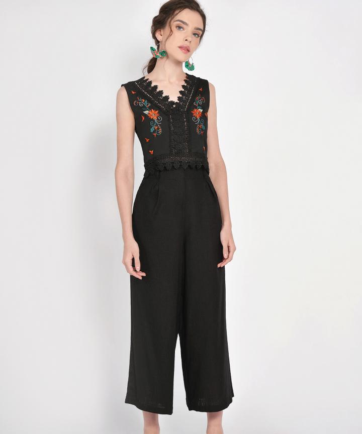 Tarragona Linen Trousers - Black