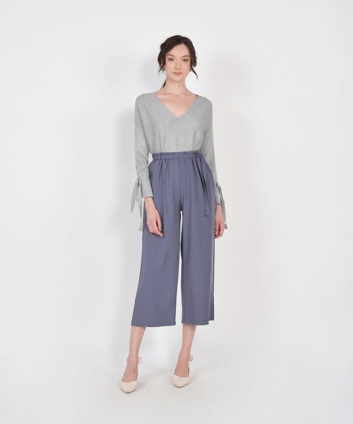 Jolie Long Sleeve Knit Top - Grey