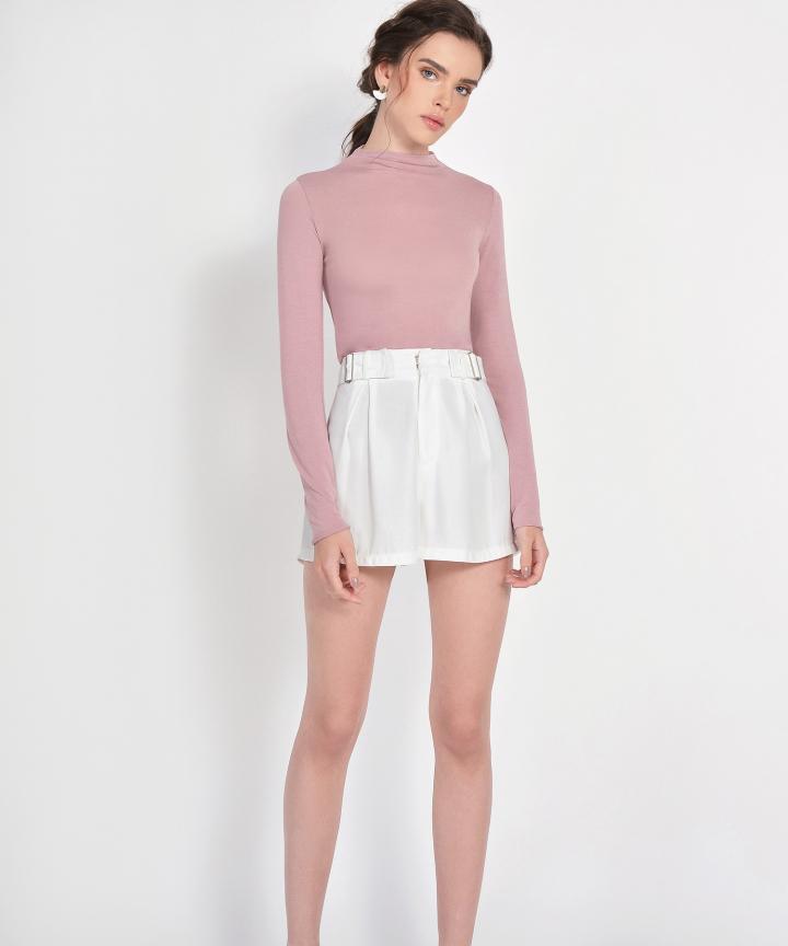 Mara Long-Sleeved Basic Top - Dust Pink