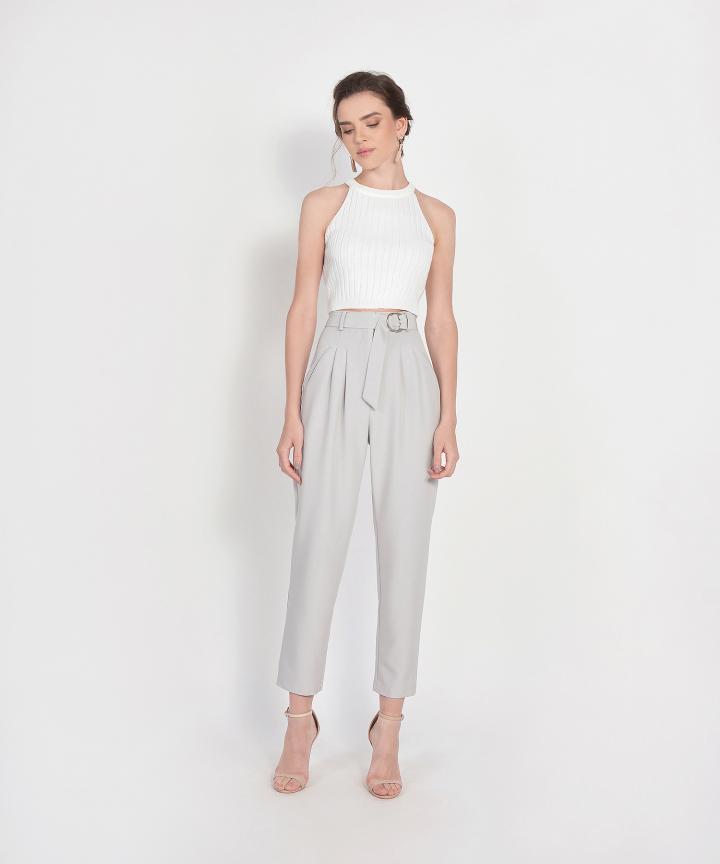 Naomi Belted Pants - Pale Grey