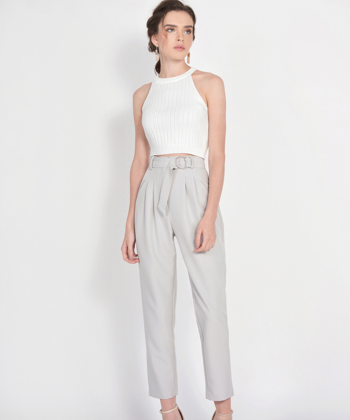 Whitney Halter Knit Cropped Top - White (Backorder)