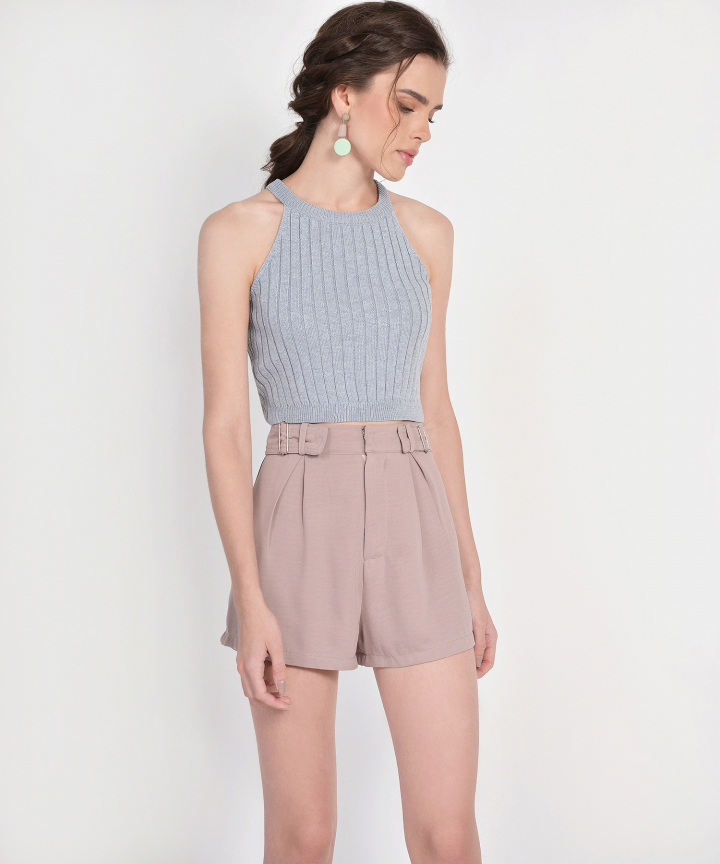 Whitney Halter Knit Cropped Top - Grey (Backorder)