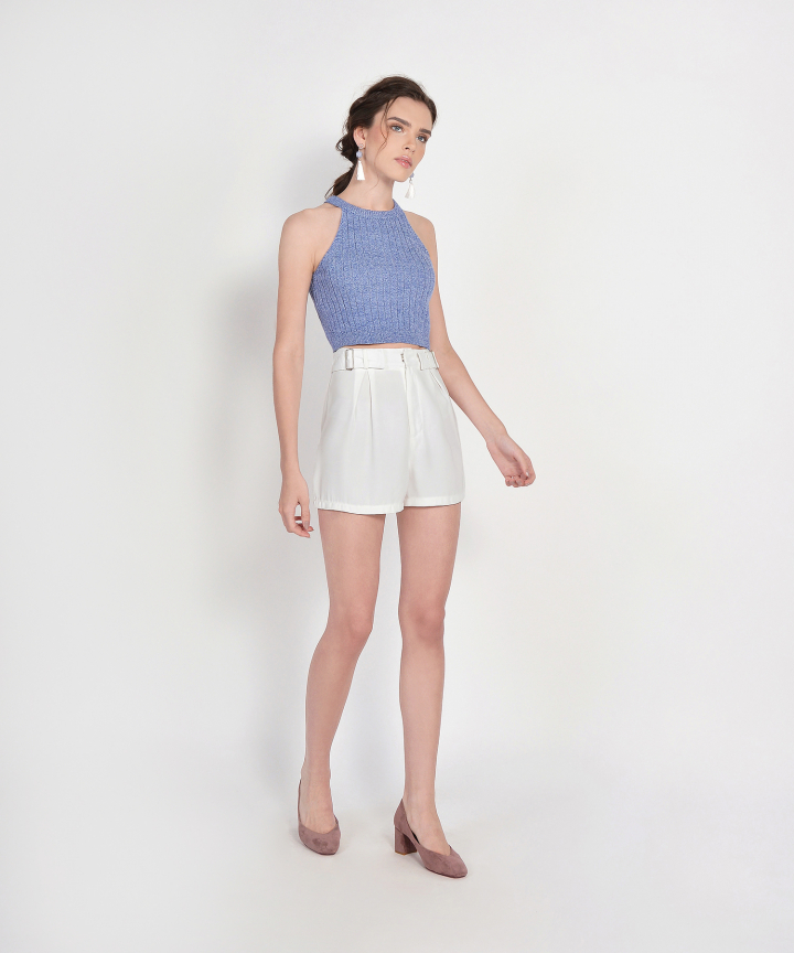Whitney Halter Knit Cropped Top - Periwinkle Blue (Backorder)