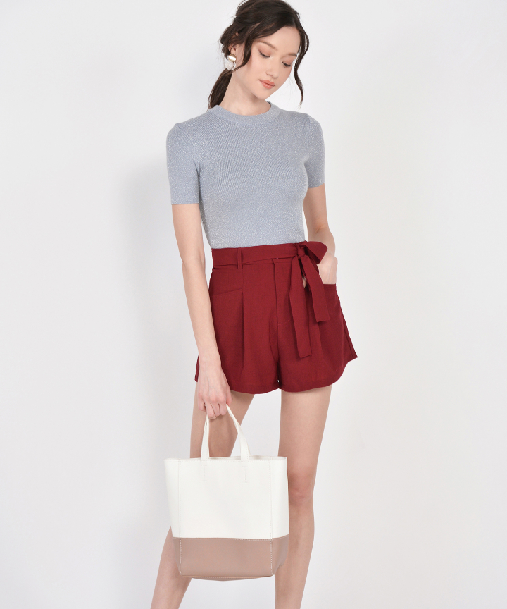 Elodie Belted Shorts - Ruby