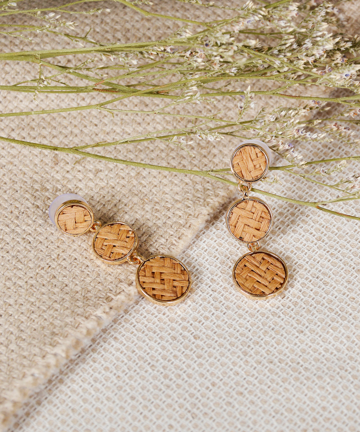 Cove Woven Tiered Earrings - Brown