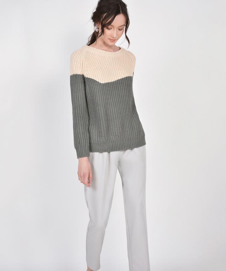 Perez Oversized Two-Tone Sweater - Grey