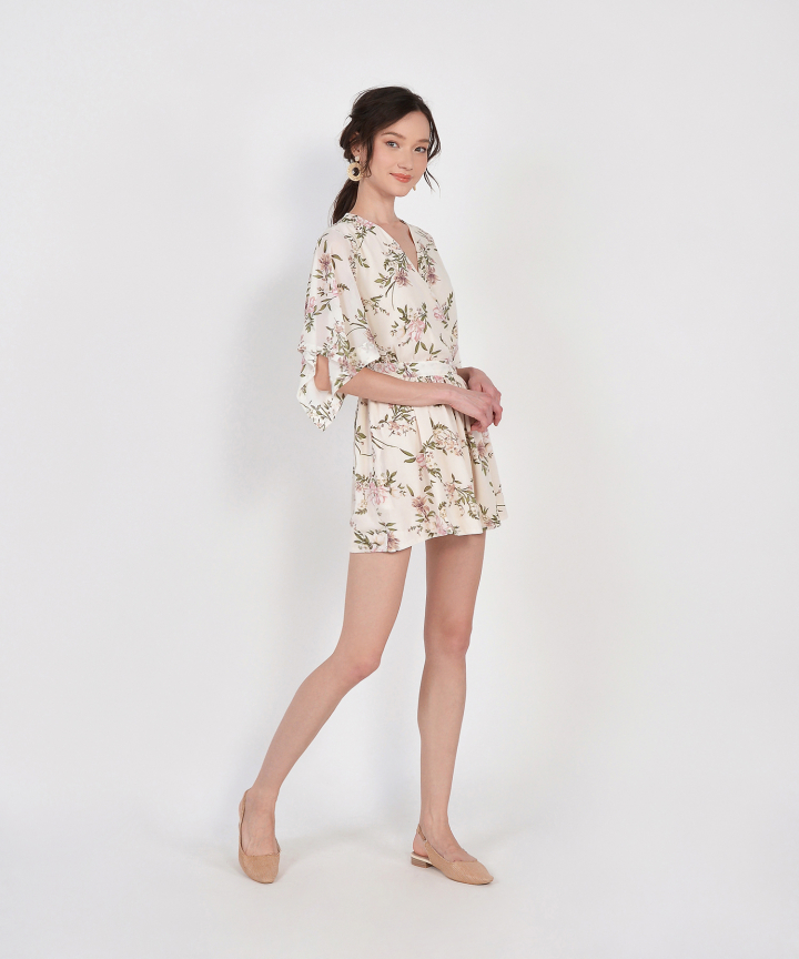Annette Floral Kimono Playsuit - Cream