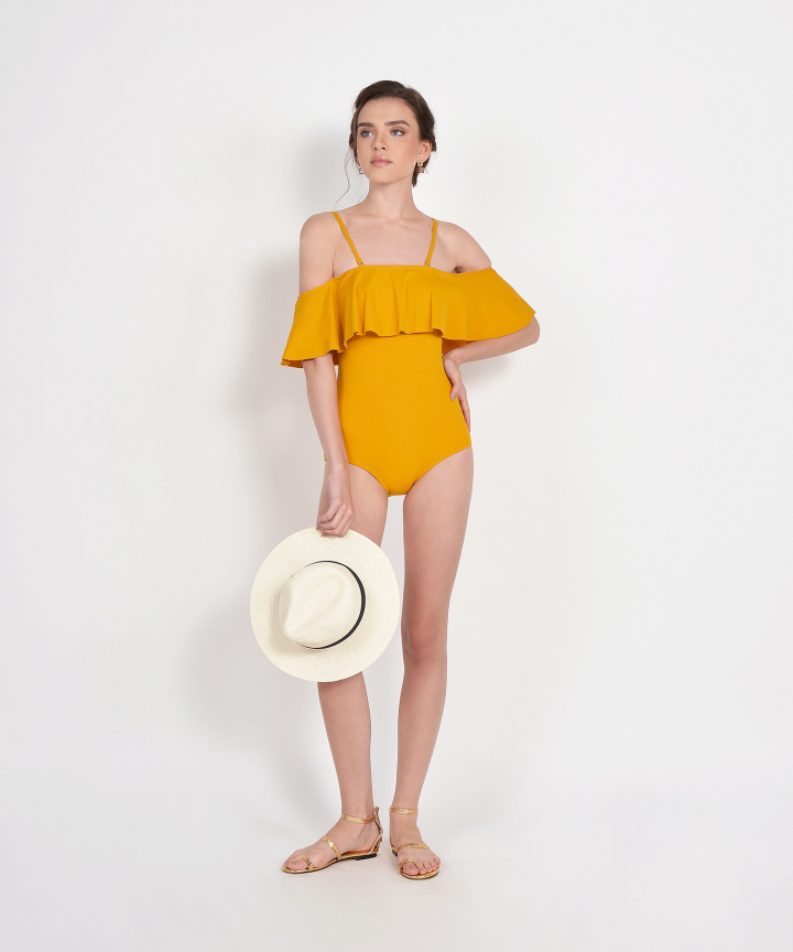 Santiago Ruffle Off-Shoulder Swimsuit