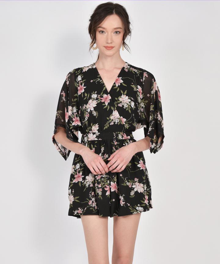 Annette Floral Kimono Playsuit - Black