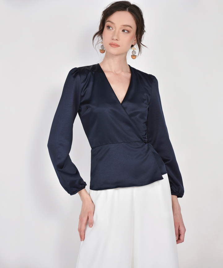 Midnight Satin Wrap Blouse