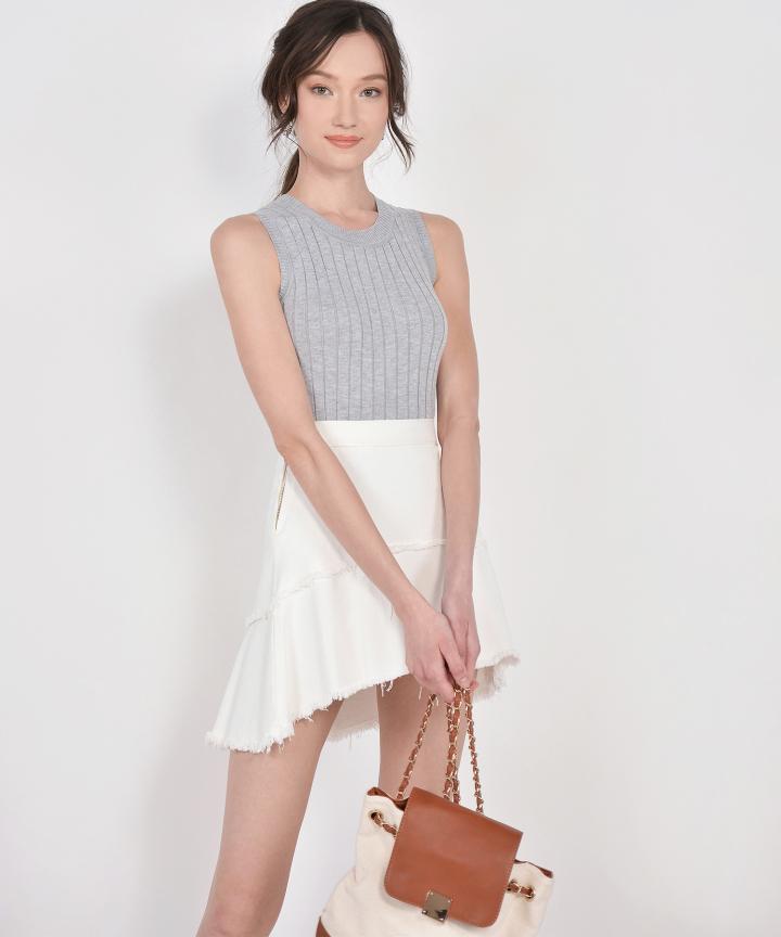 Meg Knit Cropped Top - Pale Grey