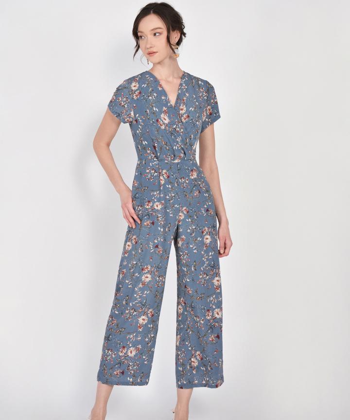 Rosa Floral Jumpsuit - Dust Blue