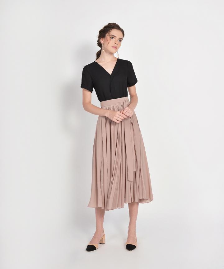 Éclair Pleat Midi Skirt - Sand